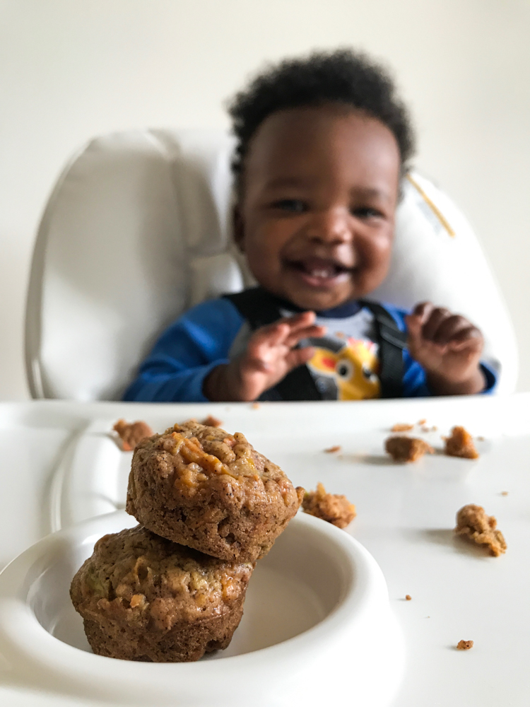 Sugar free vegan baby friendly carrot zucchini butternut squash muffins with applesauce and maple syrup.